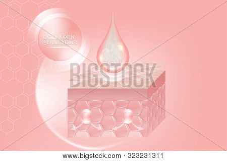 Hyaluronic acid skin solutions ad, pink collagen serum drop with cosmetic advertising background ready to use, illustration vector. stock photo
