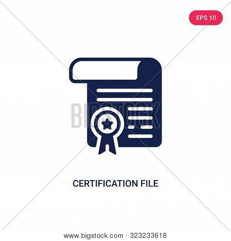certification file icon in two color design style. stock photo