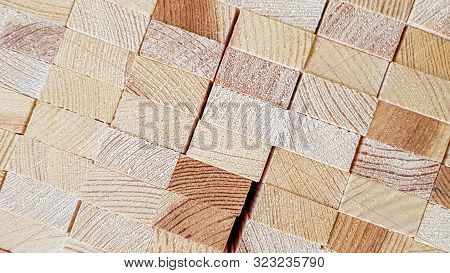 Wood texture background. Lumber industrial wood texture. End end made from machined wooden beam. Glued pine timber beams for wooden windows closeup stock photo