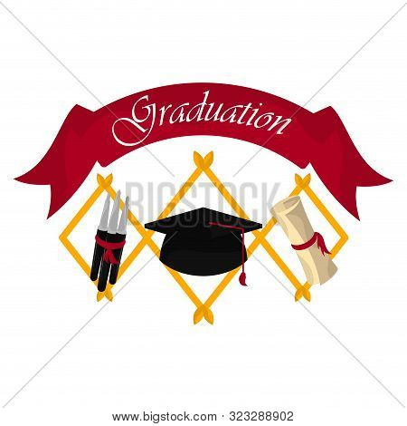 Graduation banner with cap, diploma and pens- Vector stock photo