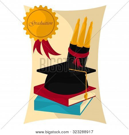 Graduation cap with books and pens over a graduation certificate - Vector stock photo
