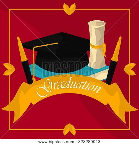 Graduation poster with cap, diploma and pens - Vector stock photo