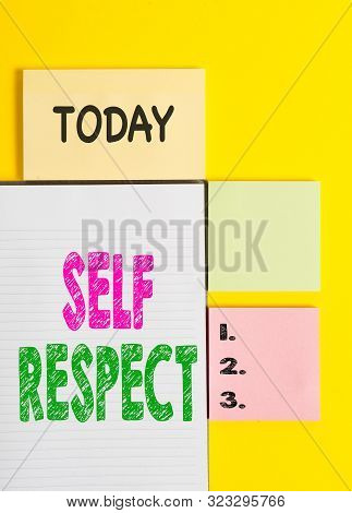 Word writing text Self Respect. Business concept for Pride and confidence in oneself Stand up for yourself Colored empty papers with copy space on the yellow background table. stock photo