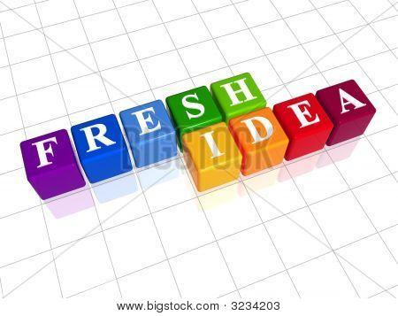 3d colour boxes with white letters with text - fresh idea stock photo