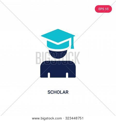 scholar icon in two color design style. stock photo
