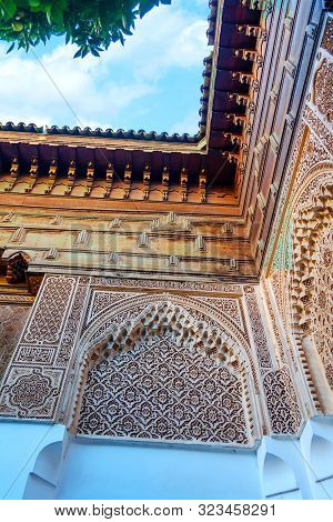 Details of the beautiful architecture of Marrakesh, Morocco. Architecture. Travels Leisure stock photo