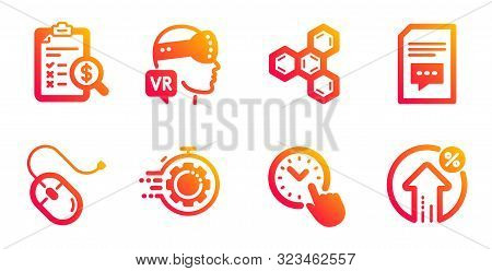 Chemical formula, Time management and Seo timer line icons set. Accounting report, Computer mouse and Augmented reality signs. Comments, Loan percent symbols. Chemistry, Office clock. Vector stock photo