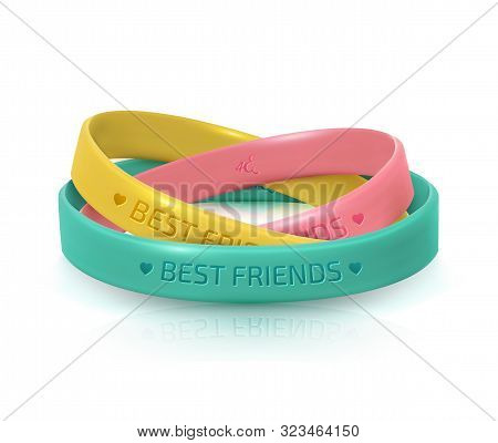Friendship Day greeting card, happy holiday of amity. Three rubber bracelets for best friends yellow, pink and turquoise. Silicone wristbands on white background. Vector illustration stock photo