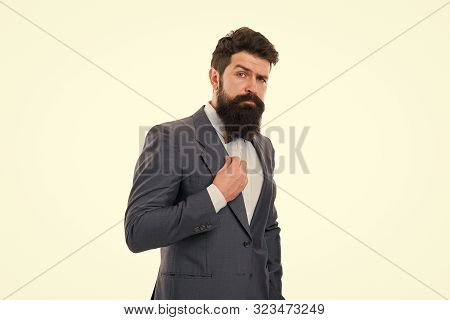 Beard fashion and care. Male fashion in business office. Businessman in formal suit. Man with beard. Bearded man. Mature hipster with beard. Confident brutal man. Business. Modern businessman. stock photo