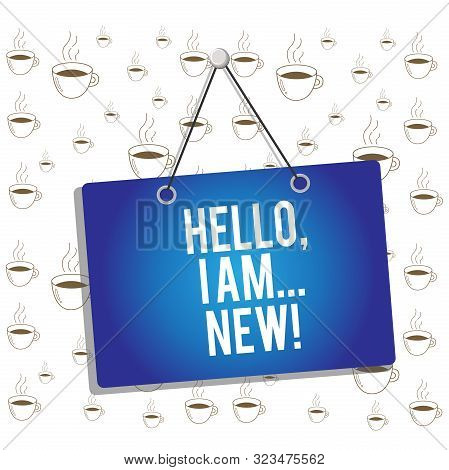 Writing note showing Hello I Am New. Business photo showcasing used greeting or begin telephone conversation Memo reminder empty board attached background rectangle. stock photo