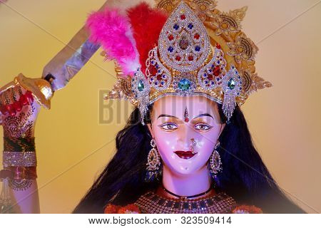 Abstract background of Goddess Durga, Idol of goddess Durga, Durga puja, Navratri, Hindu festival stock photo