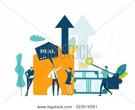 Two young people talking cheering up each other, success and happiness in professional life. Solving problem, achievement and working in progress concept stock photo