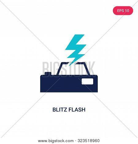 blitz flash icon in two color design style. stock photo