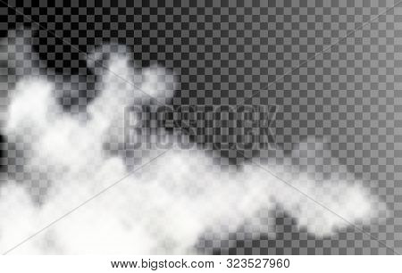 Fog on transparent background. Vector isolated white smoke, transparancy smokes effect, mist texture stock photo