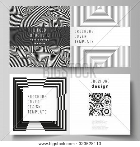The vector layout of two covers templates for square design bifold brochure, magazine, flyer, booklet. Trendy geometric abstract background in minimalistic flat style with dynamic composition. stock photo