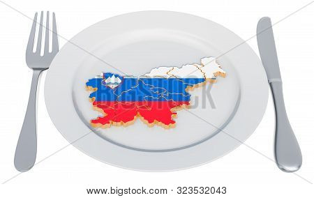 Slovenian cuisine concept. Plate with map of Slovenia. 3D rendering stock photo