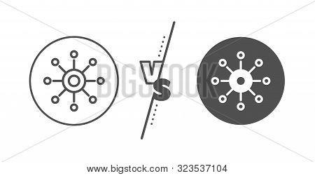 Multitasking sign. Versus concept. Multichannel line icon. Omnichannel symbol. Line vs classic multichannel icon. Vector stock photo