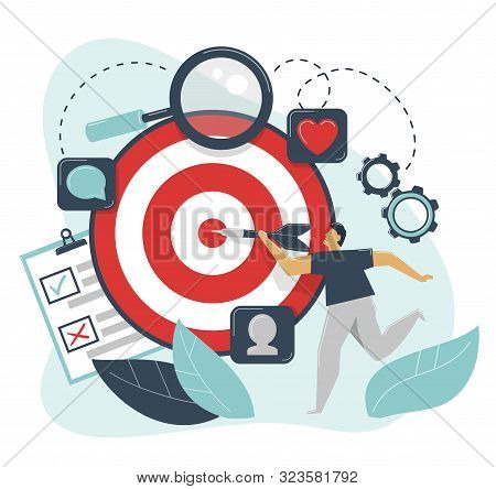 Behavioral targeting concept. Man hit target dart. Audience on customer behavior: likes, comments, reposts, subscription. stock photo