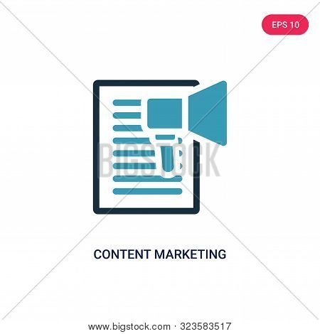 content marketing icon in two color design style. stock photo