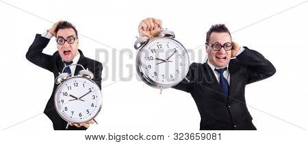 Man with alarm clock isolated on white stock photo