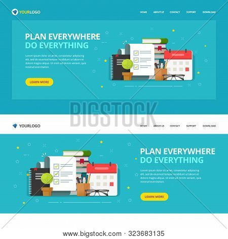 Website template design to do or check list service vector illustration, flat cartoon web site landing page with checkmarks report and calendar task manager software app, modern planner mockup stock photo