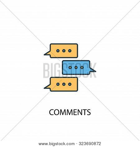 Comments concept 2 colored icon. Simple blue element illustration. Comments concept symbol design. Can be used for web and mobile stock photo