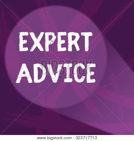 Handwriting text Expert Advice. Concept meaning Sage Good Word Professional opinion Extensive skill Ace Abstract Violet Monochrome of Disarray Smudge and Splash of Paint Pattern. stock photo