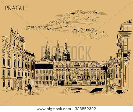 Vector hand drawing Illustration of Hradcany square. The Central gate of the Hradcany Castle. Landmark of Prague, Czech Republic. Vector illustration in black color isolated on brown background. stock photo