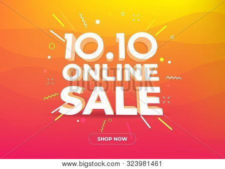 10.10 Online Shopping Day Sale Poster Or Flyer Design. Global Shopping World Day Sale On Colorful Ba