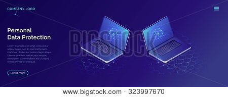 Protecting personal data concept, internet account security isometric vector. Two open laptops with blue screen on honeycomb background, landing web site page stock photo