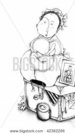 nanny in mutch and with a soup ladle in her hands sitting on the old chest with a family photo on it stock photo
