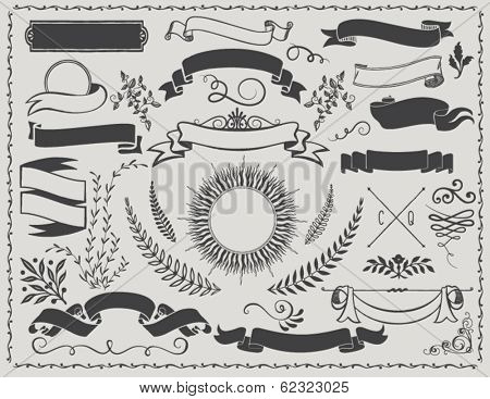 Vintage Banners - Vintage vector design elements, including banners, ribbons, branches, swirls, curl