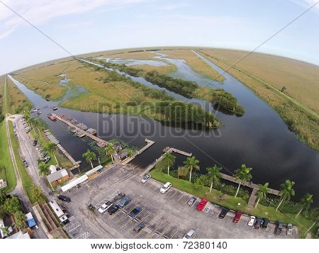 Aerial view of boat park in the Florida Everglades wetlands stock photo