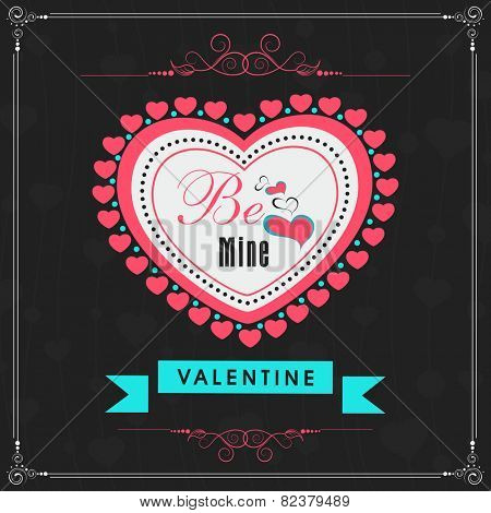 Beautiful greeting card design with pink heart and text Be Mine on stylish black background for Happy Valentines Day celebration. stock photo