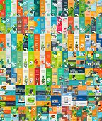 Mega gathering of level web infographic ideas and flags, different widespread set