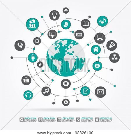 Abstract computer network with integrated circles and icons for digital,  network, internet, connect