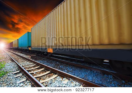 boxcar container trains on track use for indutry land transportation ** Note: Soft Focus at 100%, best at smaller sizes stock photo