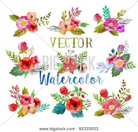 Vector watercolor hand drawn  buttonholes with colorful flowers and leaves. The art paint on white b
