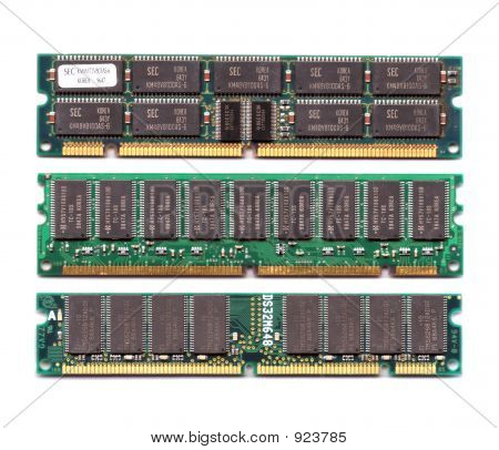 three different layout ram chips module isolated on white background stock photo