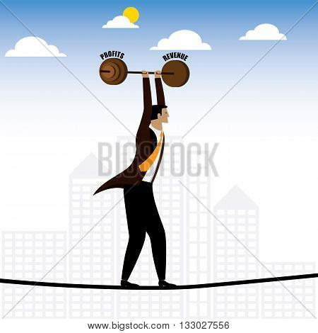 businessman or executive walking on tightrope balancing revenue & profits - vector graphic. this also represents persistence & hardwork job difficulties career struggles risk and reward grit stock photo