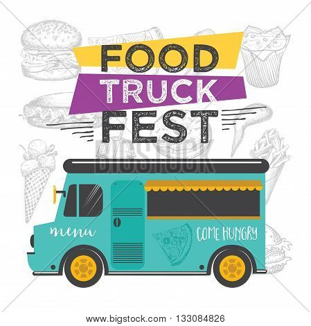 Food Truck Festival Menu Brochure Street Template Design Vintage Creative Party Invitation With Hand Drawn Graphic Vector Flyer