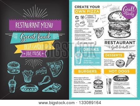 menu placemat food restaurant brochure menu template design vintage