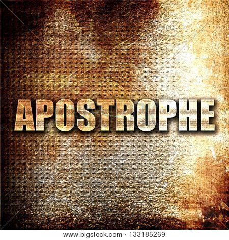 apostrophe, 3D rendering, metal text on rust background stock photo