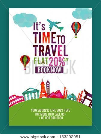 Time to Travel, Flat 20% off on Booking Now, Creative Template, Banner or Flyer design for Tour and