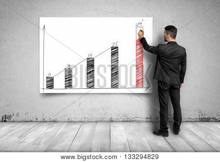 Businessman draws a potential benefit by increasing graph. Prosperous business. Economic and statistical graphs. Strategic calculation and research. Business idea. Business plan. Targeting success and happiness. Financial and business concept. Back view.