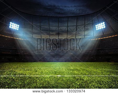 3d rendering of sport concept background - soccer footbal stadium with floodlights. Grass fooball pi