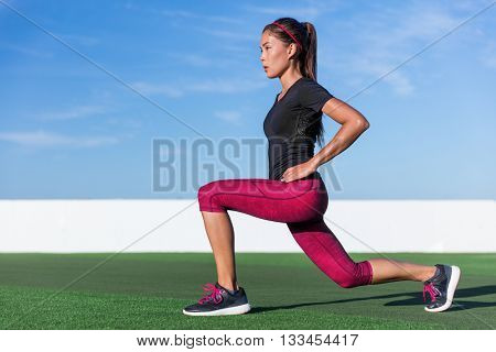 Fitness woman doing lunges exercises for glute and leg muscle workout training core muscles, balance
