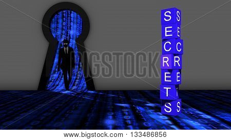 Elite hacker entering a room through a keyhole to steal secrets silhouette 3d illustration information security backdoor concept stock photo