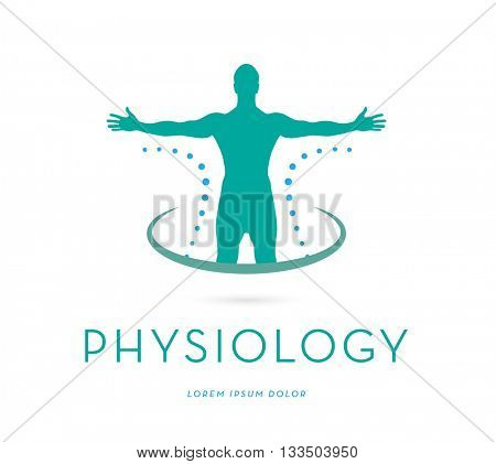 MAN'S SILHOUETTE WITH OPEN ARMS , VECTOR LOGO / ICON  stock photo