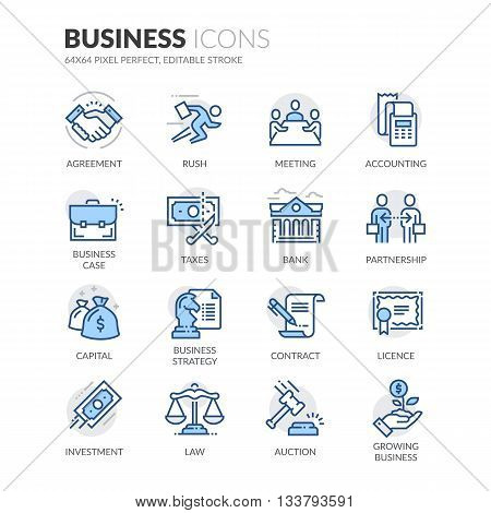 Simple Set of Business Related Color Vector Line Icons. Contains such Icons as Handshake, Business Meeting, Law, Licence and more. Editable Stroke. 64x64 Pixel Perfect. stock photo